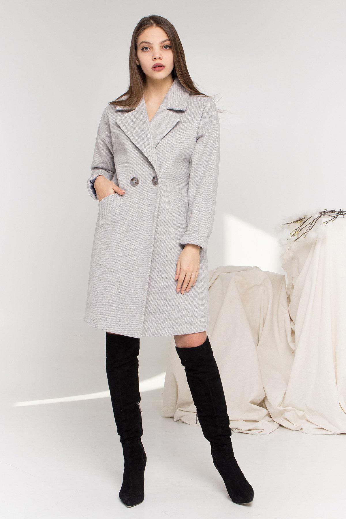 Демисезонное двубортное пальто Сенсей 8845 АРТ. 45170 Цвет: Светло серый - фото 1, интернет магазин tm-modus.ru