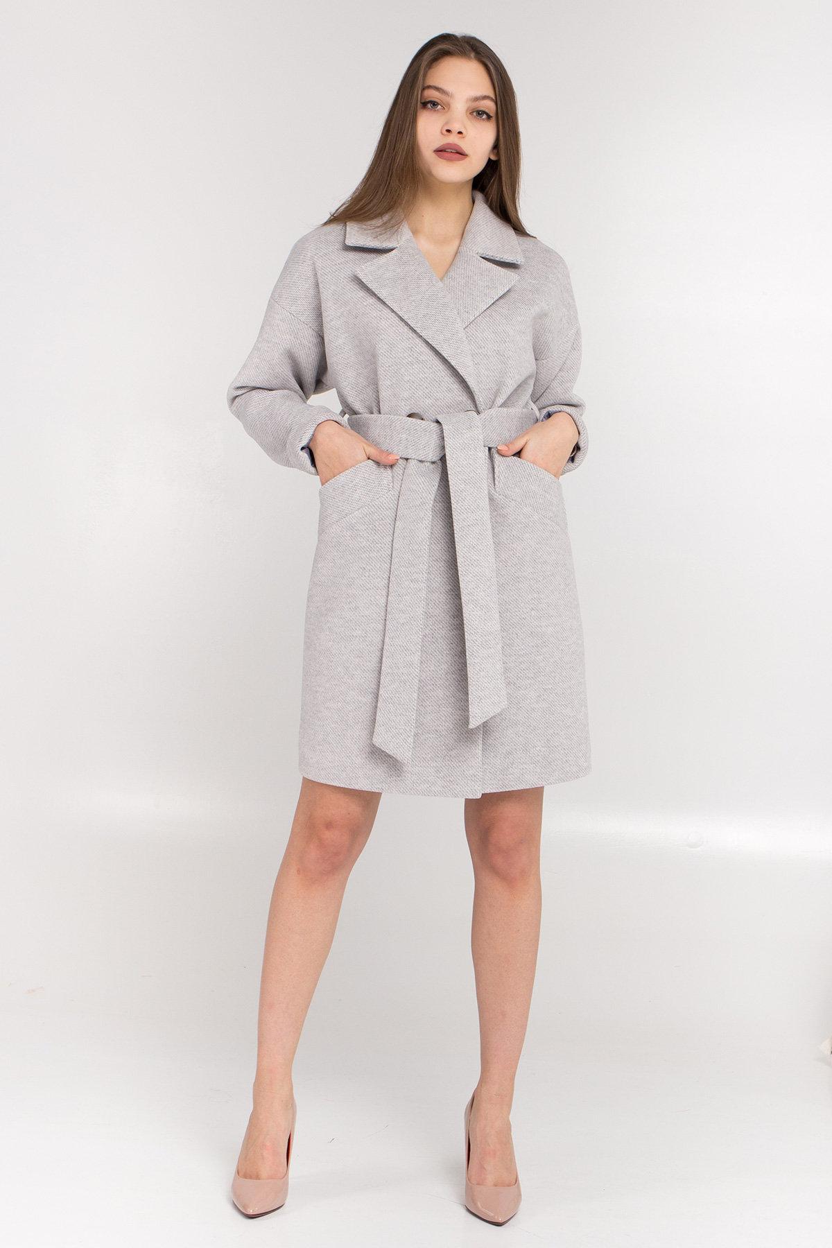 Демисезонное двубортное пальто Сенсей 8845 АРТ. 45170 Цвет: Светло серый - фото 4, интернет магазин tm-modus.ru