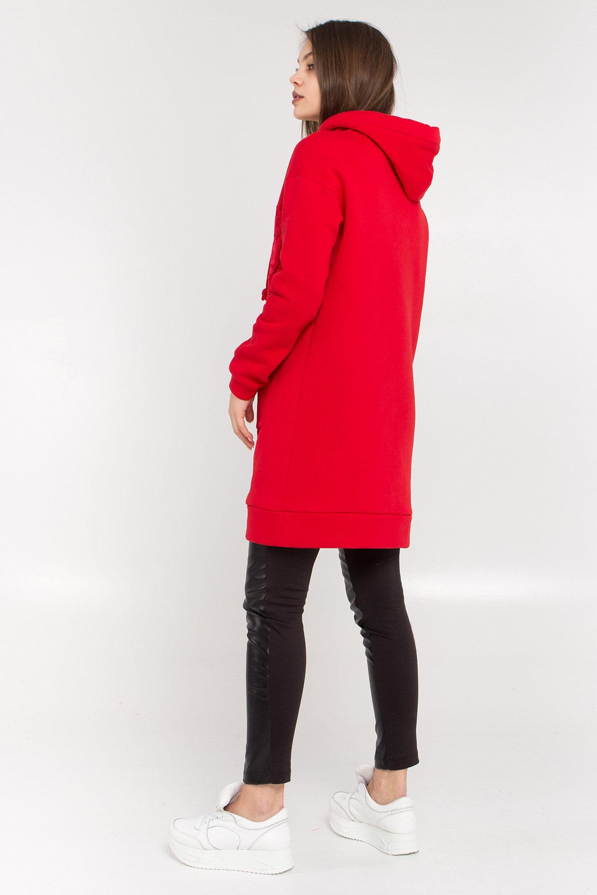 Платье худи Томми 8703 АРТ. 45100 Цвет: Красный/красный - фото 3, интернет магазин tm-modus.ru