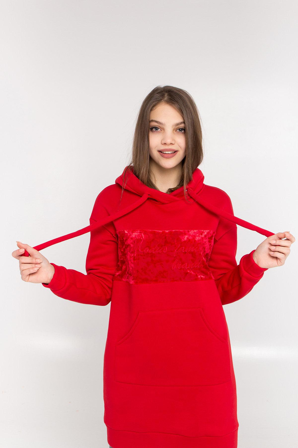 Платье худи Томми 8703 АРТ. 45100 Цвет: Красный/красный - фото 4, интернет магазин tm-modus.ru