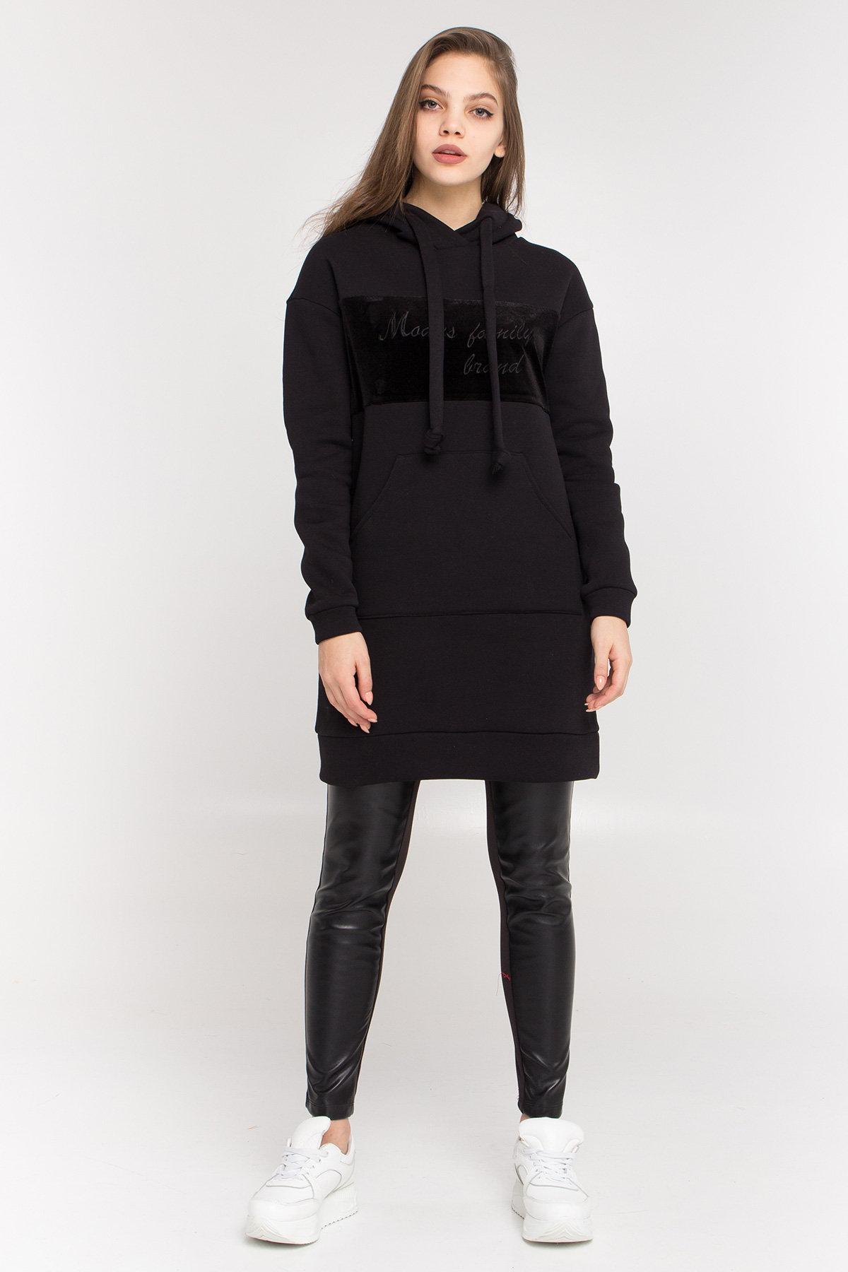 Платье худи Томми 8703 АРТ. 45099 Цвет: Черный/черный - фото 1, интернет магазин tm-modus.ru