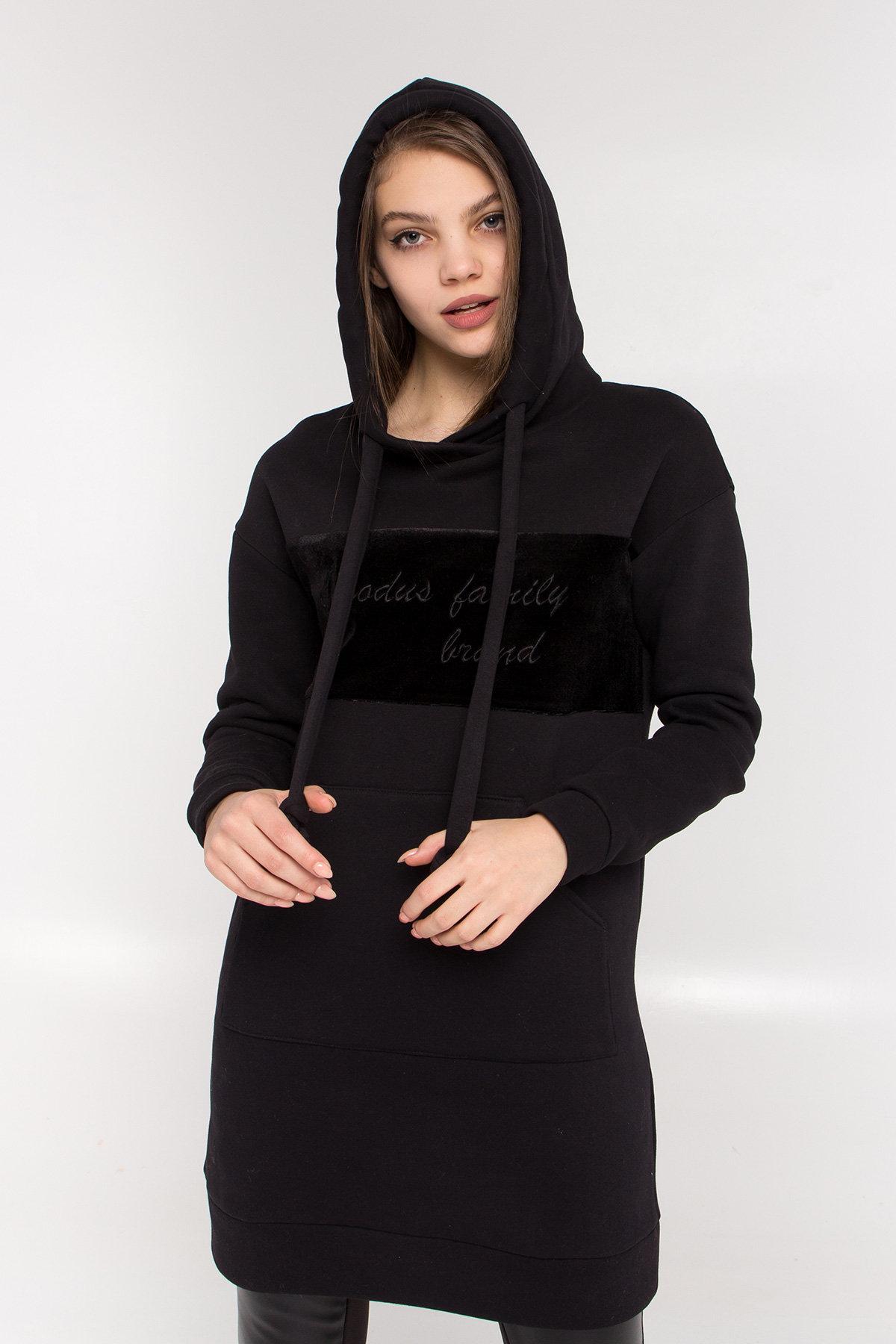 Платье худи Томми 8703 АРТ. 45099 Цвет: Черный/черный - фото 3, интернет магазин tm-modus.ru