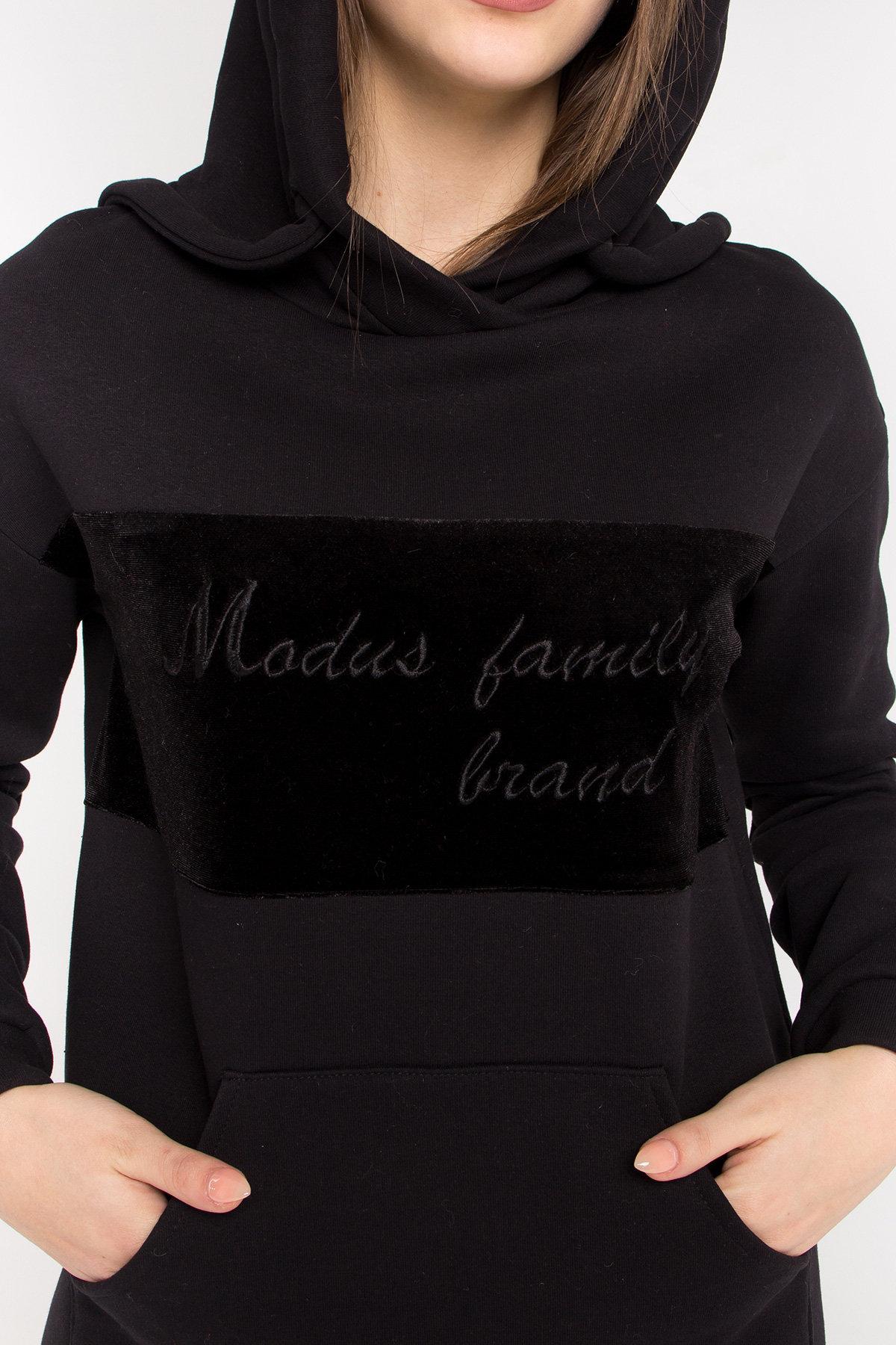 Платье худи Томми 8703 АРТ. 45099 Цвет: Черный/черный - фото 4, интернет магазин tm-modus.ru