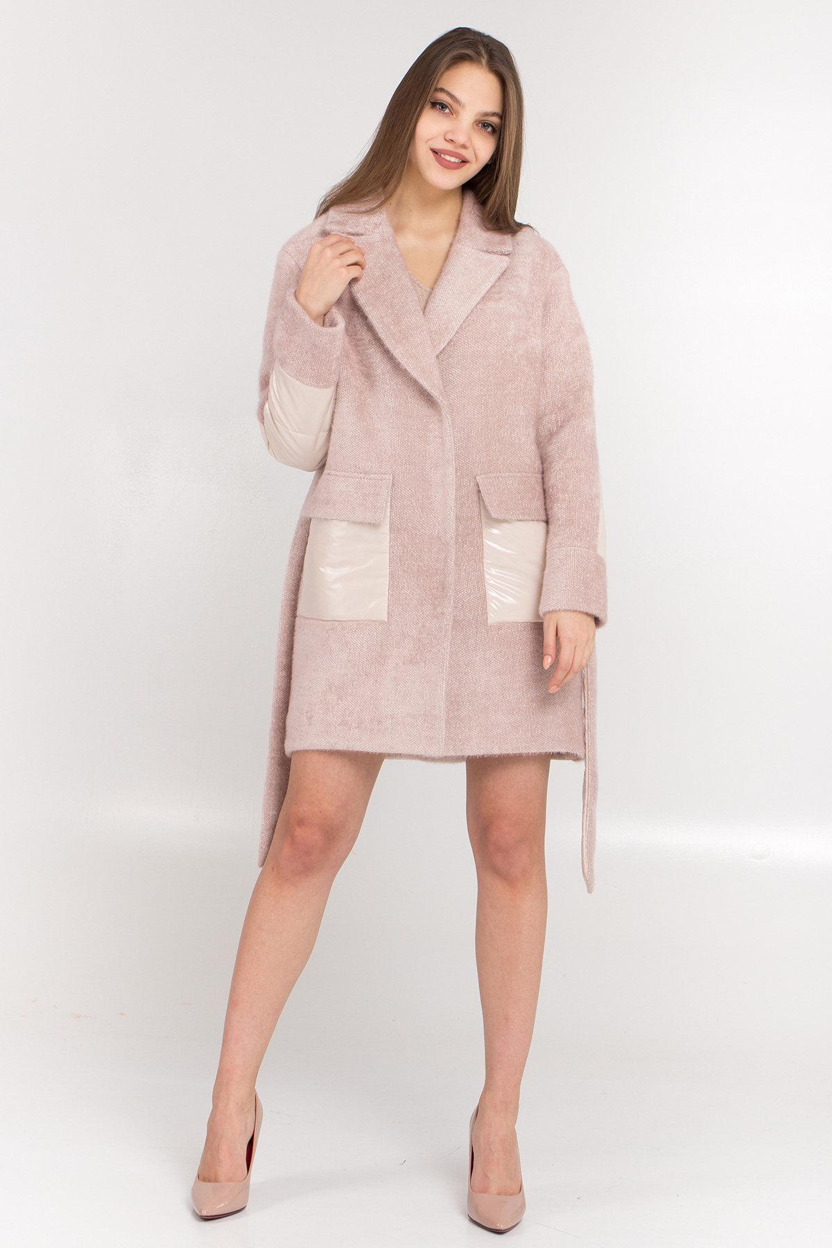 Комбинированное пальто Монклер 8884 АРТ. 45205 Цвет: Пудра/молоко - фото 1, интернет магазин tm-modus.ru