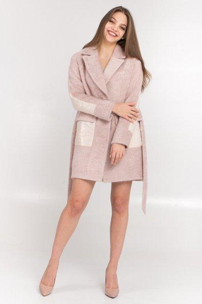 Комбинированное пальто Монклер 8884 Цвет: Пудра/молоко