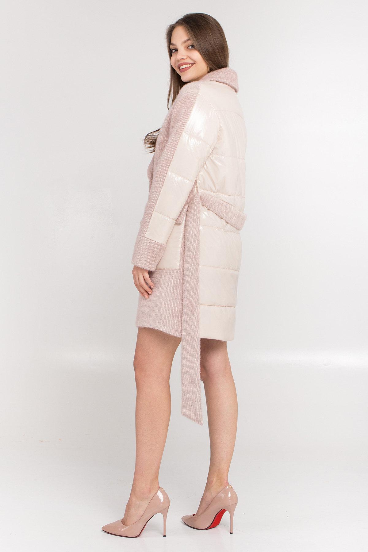 Комбинированное пальто Монклер 8884 АРТ. 45205 Цвет: Пудра/молоко - фото 3, интернет магазин tm-modus.ru