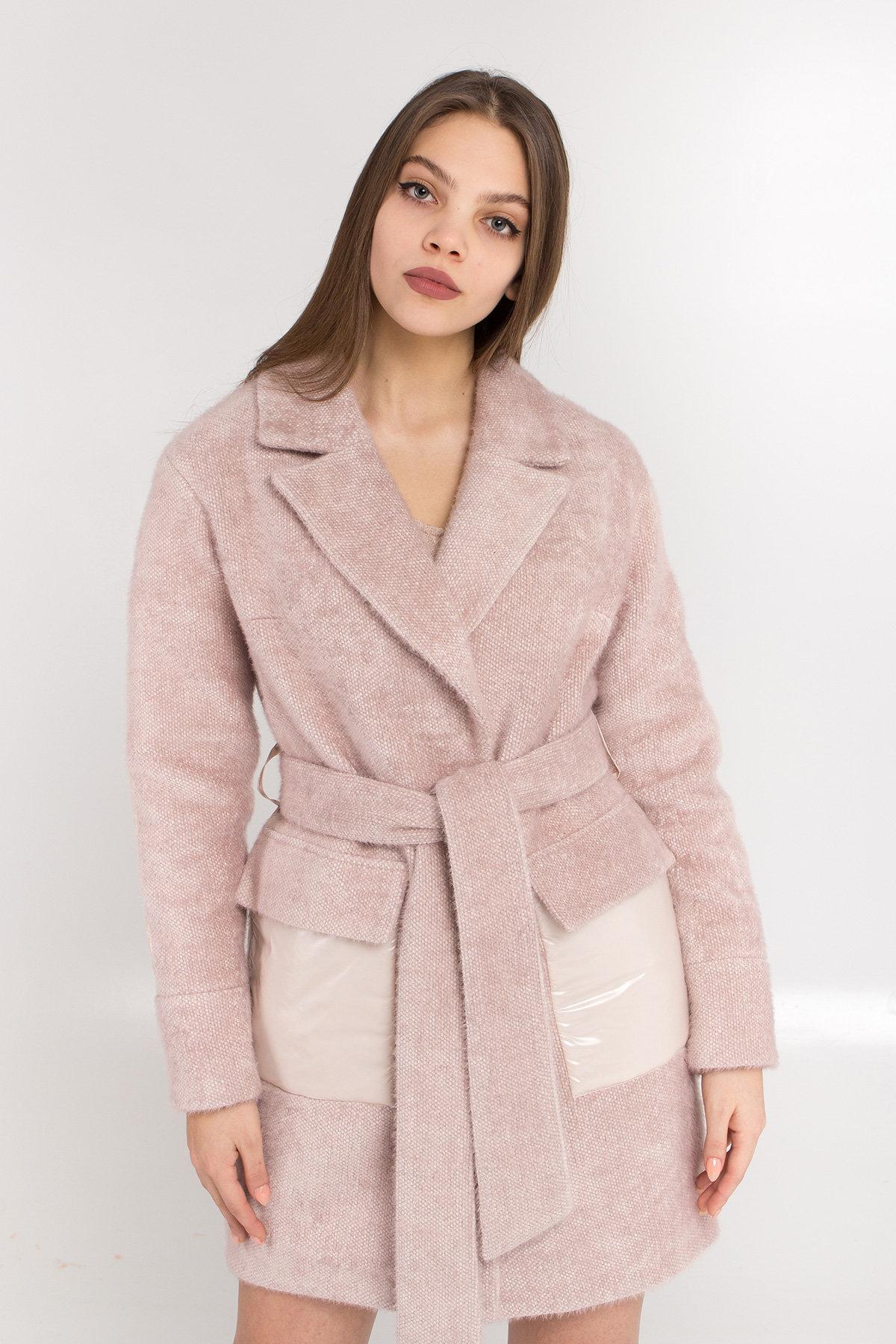 Комбинированное пальто Монклер 8884 АРТ. 45205 Цвет: Пудра/молоко - фото 5, интернет магазин tm-modus.ru