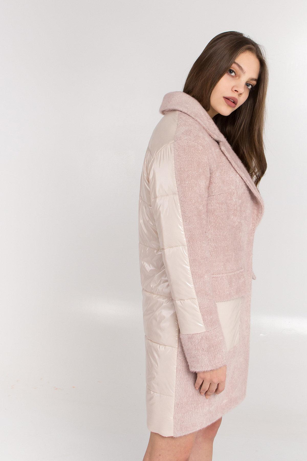 Комбинированное пальто Монклер 8884 АРТ. 45205 Цвет: Пудра/молоко - фото 6, интернет магазин tm-modus.ru