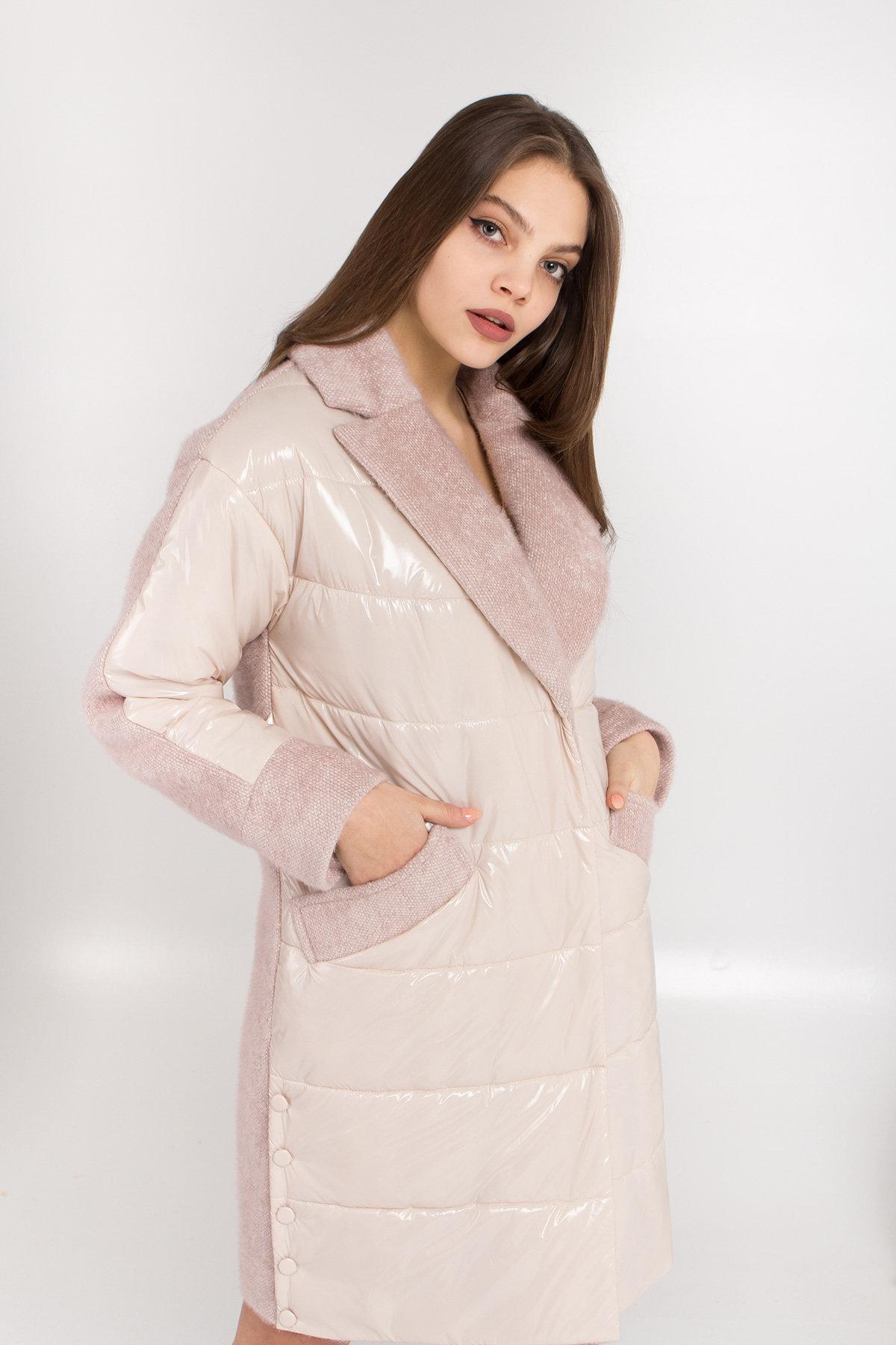 Комбинированное пальто с плащевкой Санья 8780 АРТ. 45123 Цвет: Пудра/молоко - фото 2, интернет магазин tm-modus.ru