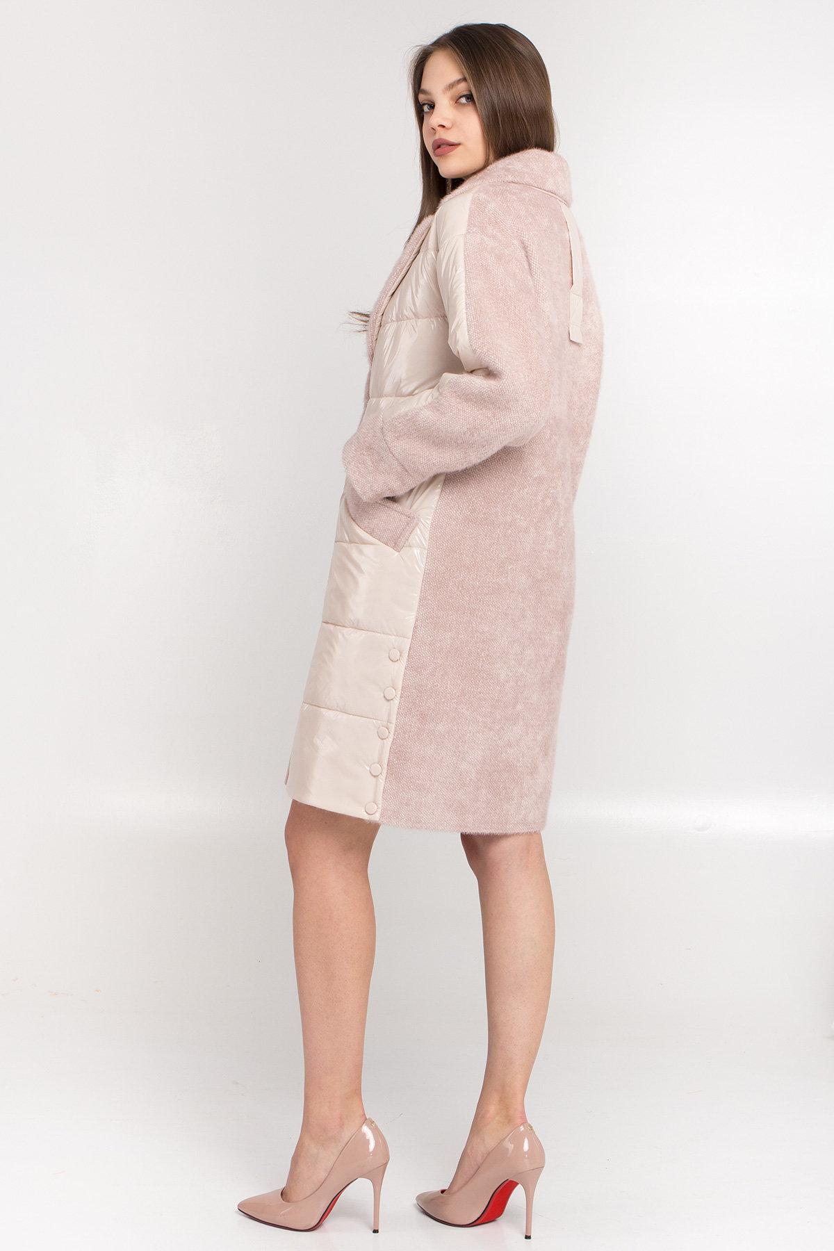 Комбинированное пальто с плащевкой Санья 8780 АРТ. 45123 Цвет: Пудра/молоко - фото 3, интернет магазин tm-modus.ru