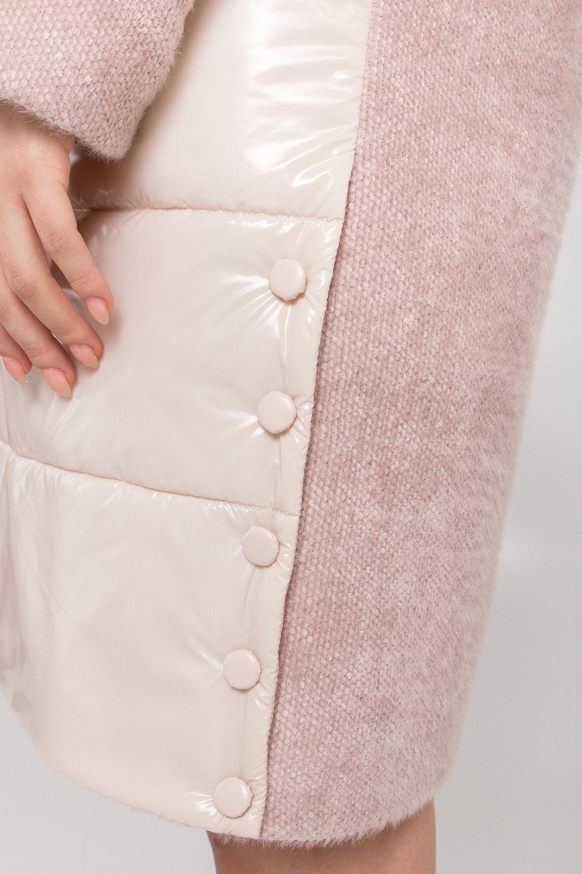 Комбинированное пальто с плащевкой Санья 8780 АРТ. 45123 Цвет: Пудра/молоко - фото 4, интернет магазин tm-modus.ru