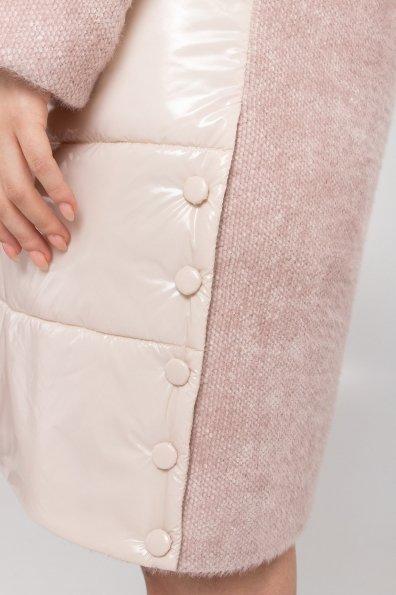 Комбинированное пальто с плащевкой Санья 8780 Цвет: Пудра/молоко