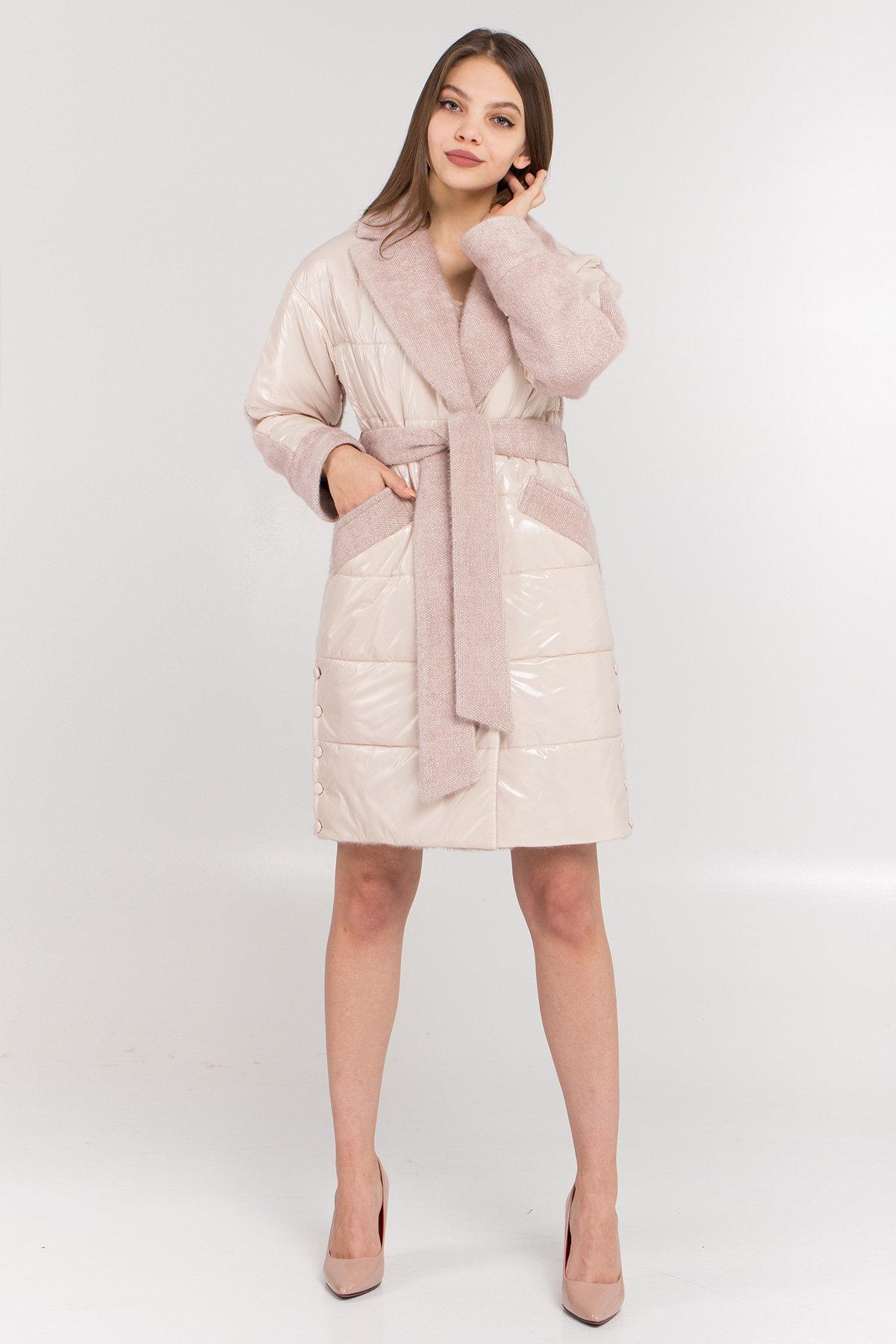 Осенние пальто больших размеров Комбинированное пальто с плащевкой Санья 8780
