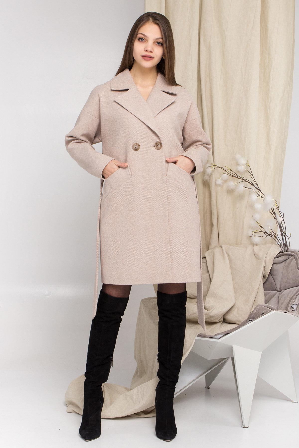 Пальто Сенсей 8905 АРТ. 45219 Цвет: Бежевый - фото 1, интернет магазин tm-modus.ru