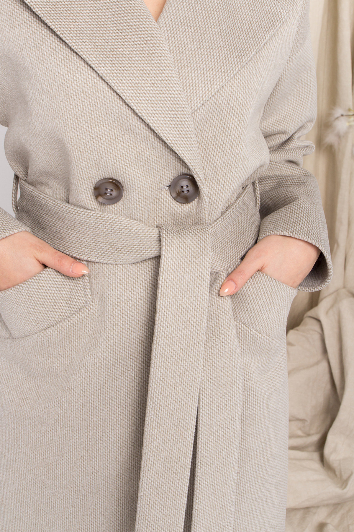 Демисезонное двубортное пальто Сенсей 8845 АРТ. 45218 Цвет: Олива - фото 9, интернет магазин tm-modus.ru