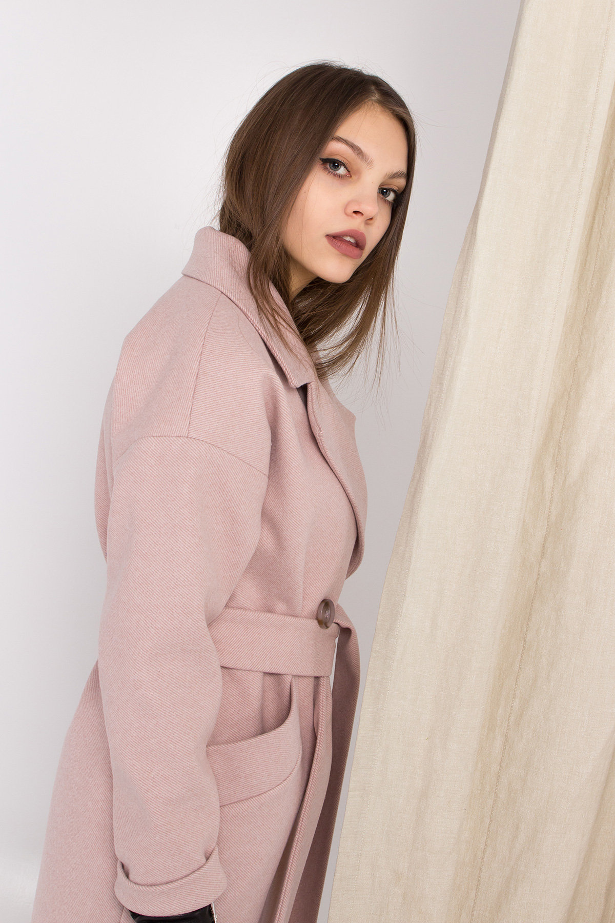 Пальто Сенсей 8907 АРТ. 45220 Цвет: Пудра - фото 4, интернет магазин tm-modus.ru