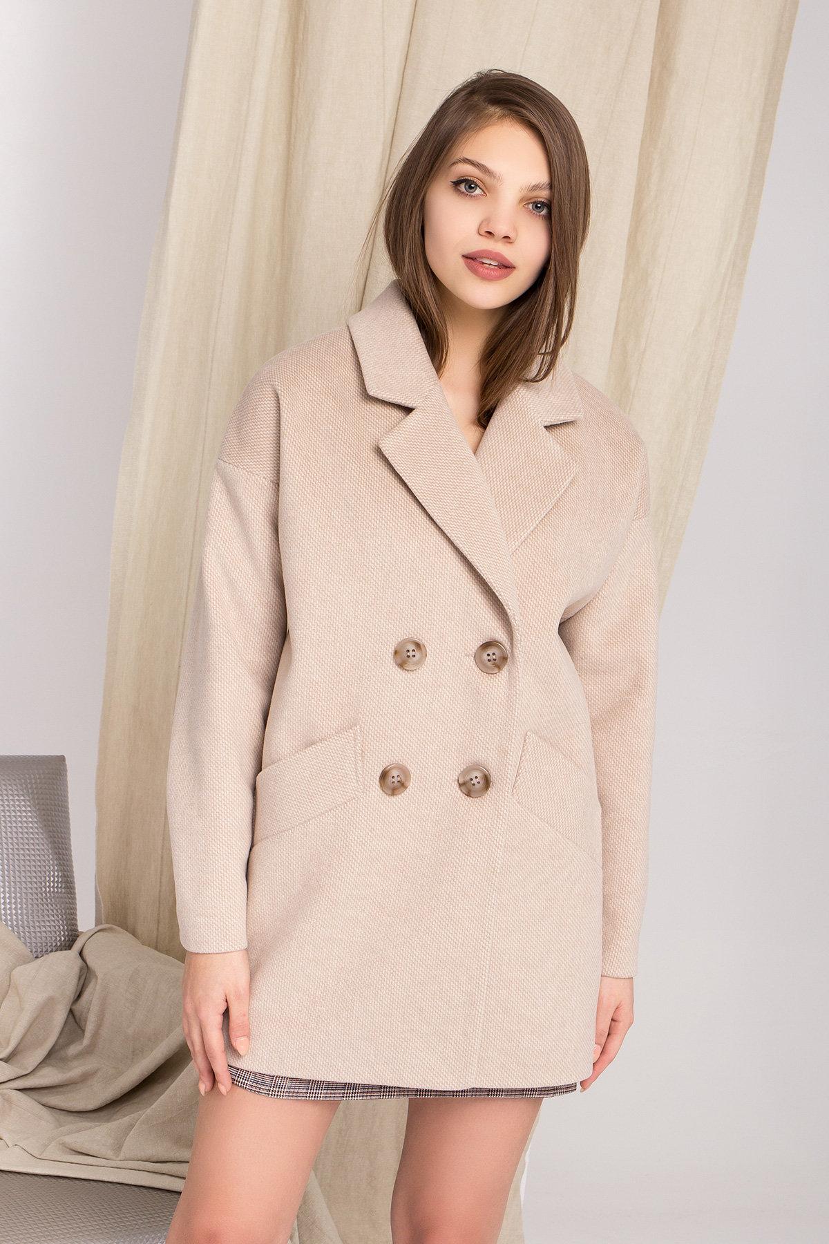 Демисезонное двубортное пальто Бонд 8927 АРТ. 45227 Цвет: Бежевый Светлый - фото 4, интернет магазин tm-modus.ru