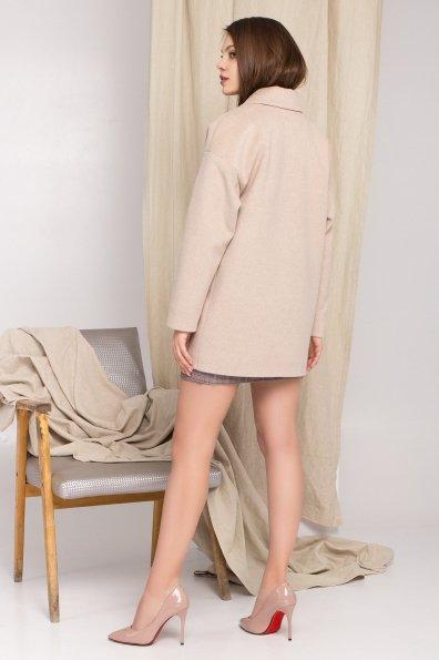 Демисезонное двубортное пальто Бонд 8927 Цвет: Бежевый Светлый