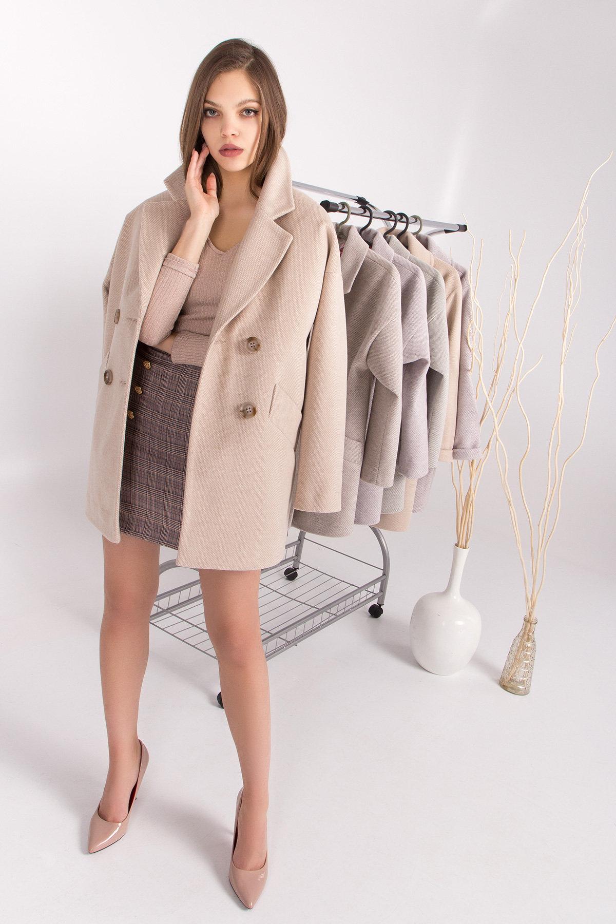 Демисезонное двубортное пальто Бонд 8927 АРТ. 45227 Цвет: Бежевый Светлый - фото 2, интернет магазин tm-modus.ru