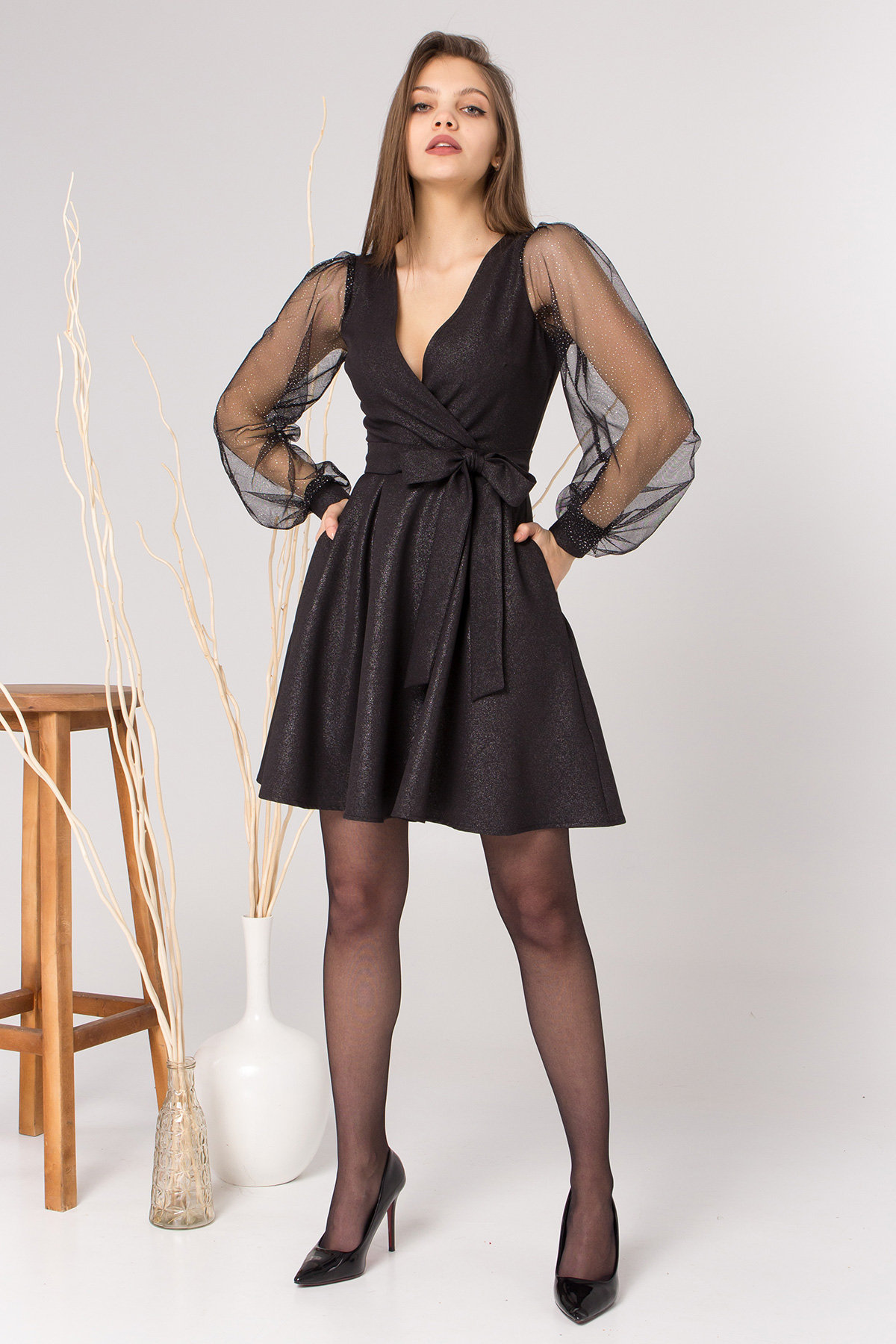 Коктейльное платье Джелла 8873 АРТ. 45202 Цвет: Черный - фото 2, интернет магазин tm-modus.ru