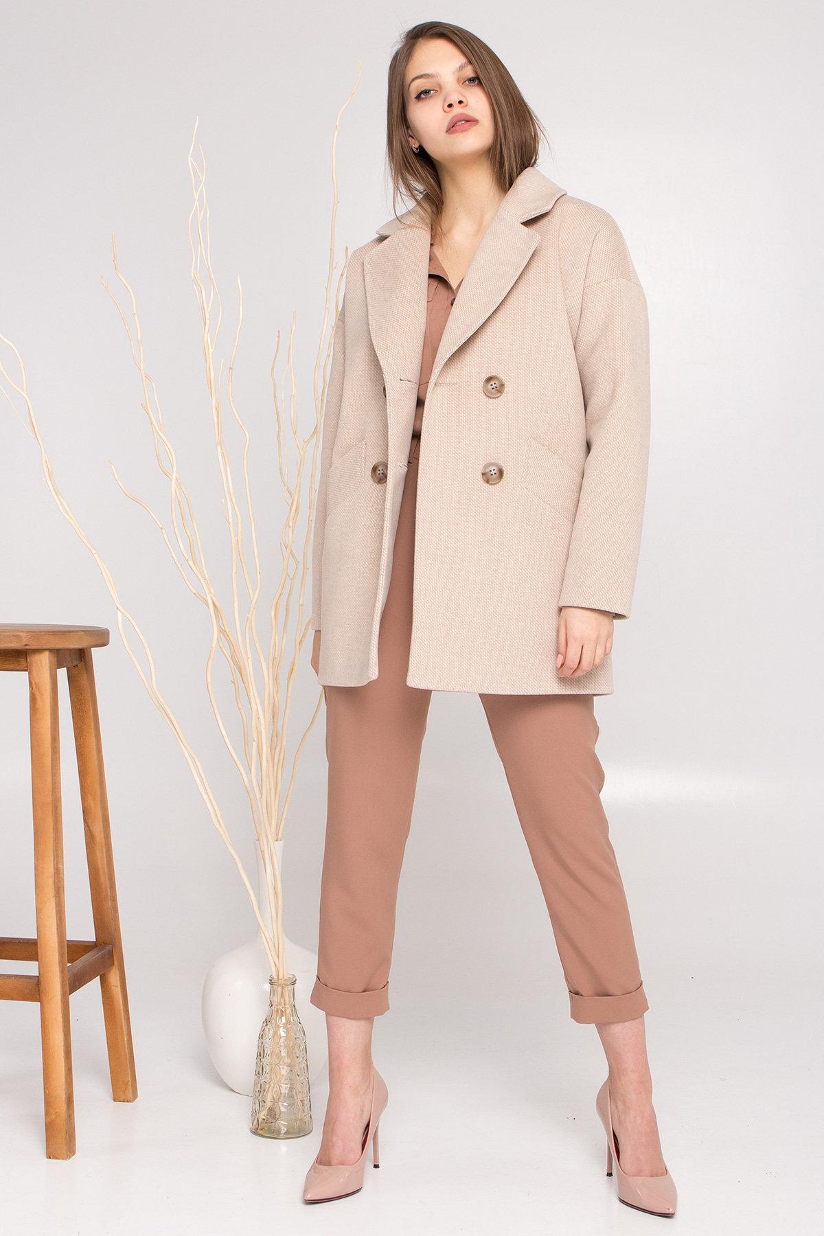Демисезонное двубортное пальто Бонд 8927 АРТ. 45227 Цвет: Бежевый Светлый - фото 3, интернет магазин tm-modus.ru