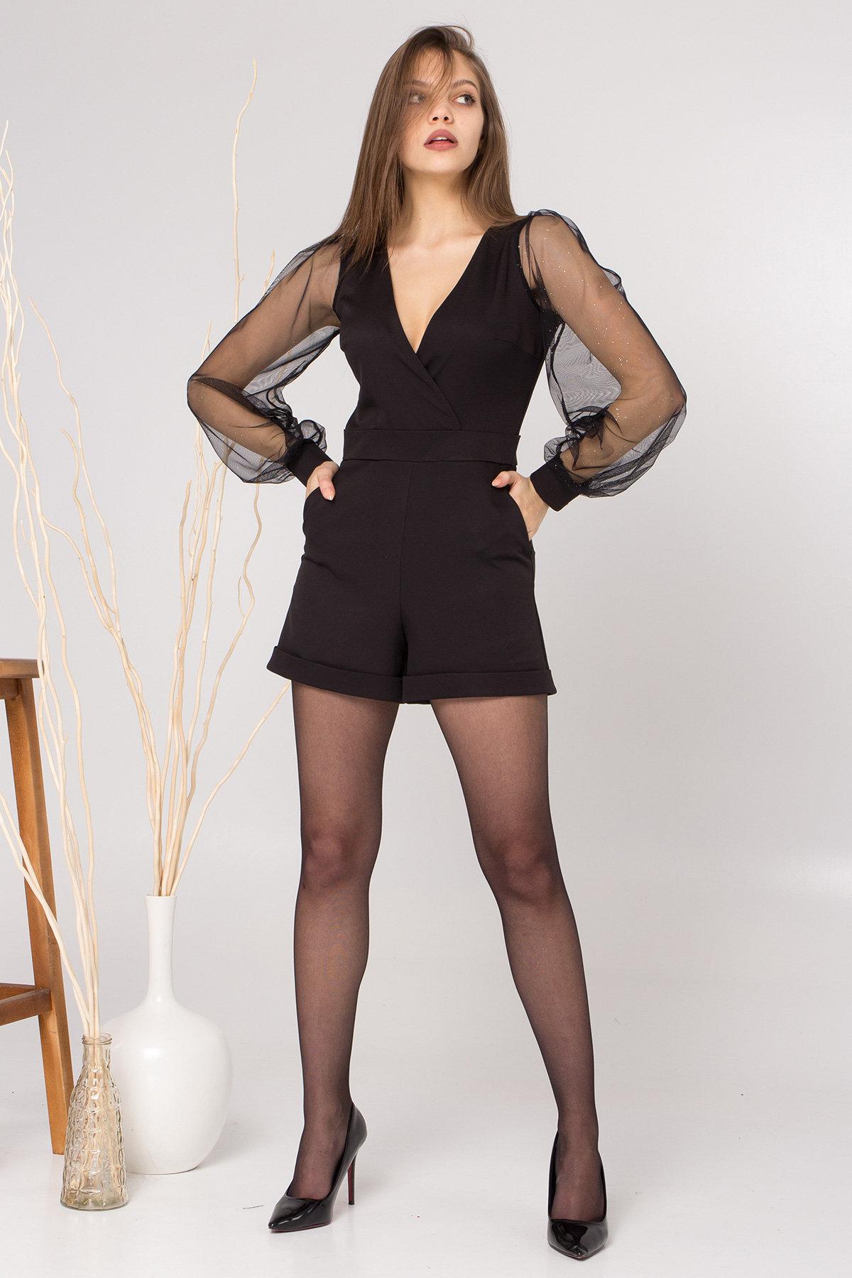 Нарядный комбинезон с шортами Набель 8886 АРТ. 45207 Цвет: Черный - фото 2, интернет магазин tm-modus.ru