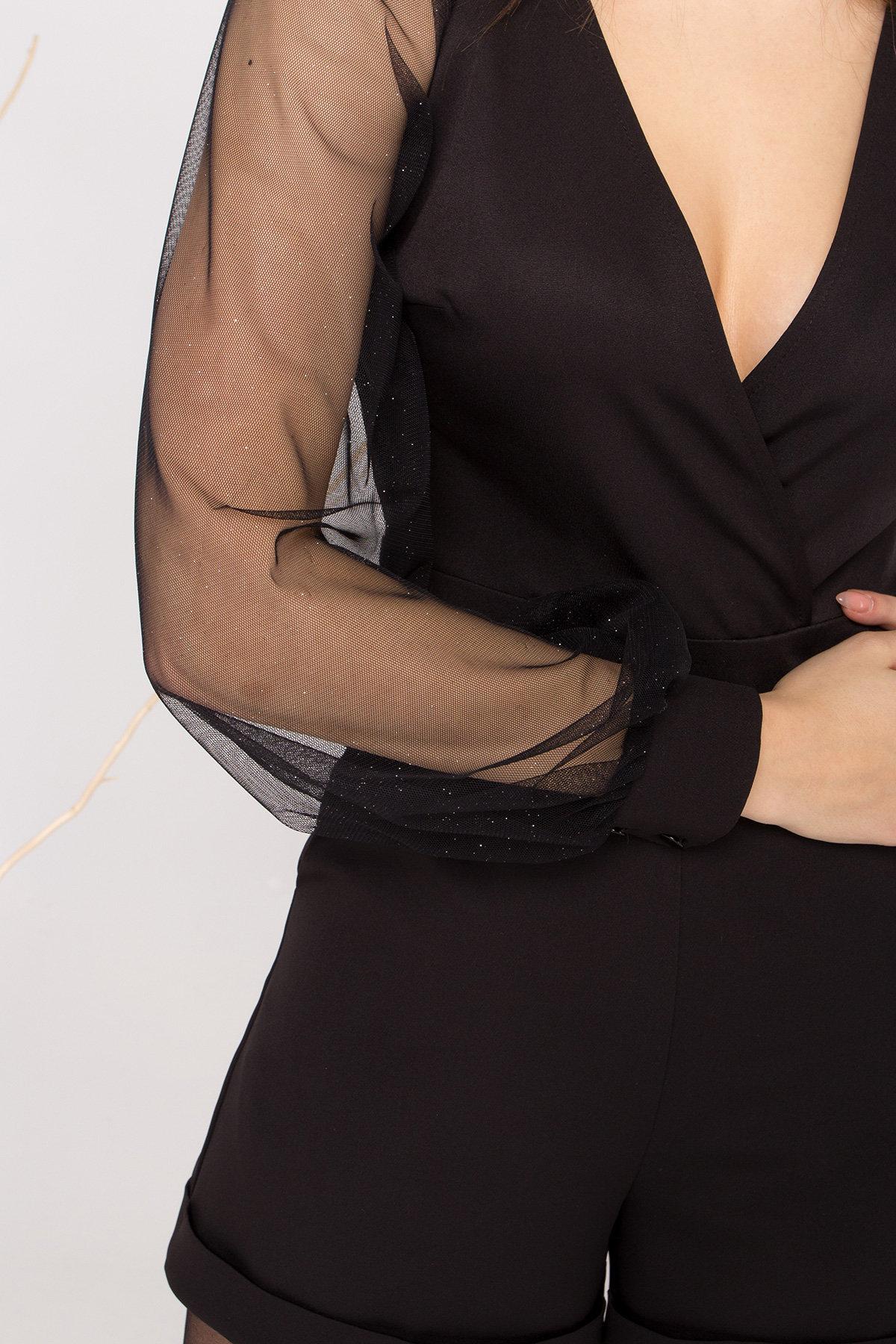 Нарядный комбинезон с шортами Набель 8886 АРТ. 45207 Цвет: Черный - фото 4, интернет магазин tm-modus.ru