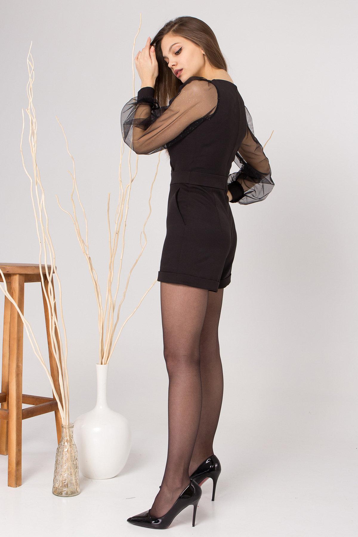 Нарядный комбинезон с шортами Набель 8886 АРТ. 45207 Цвет: Черный - фото 5, интернет магазин tm-modus.ru