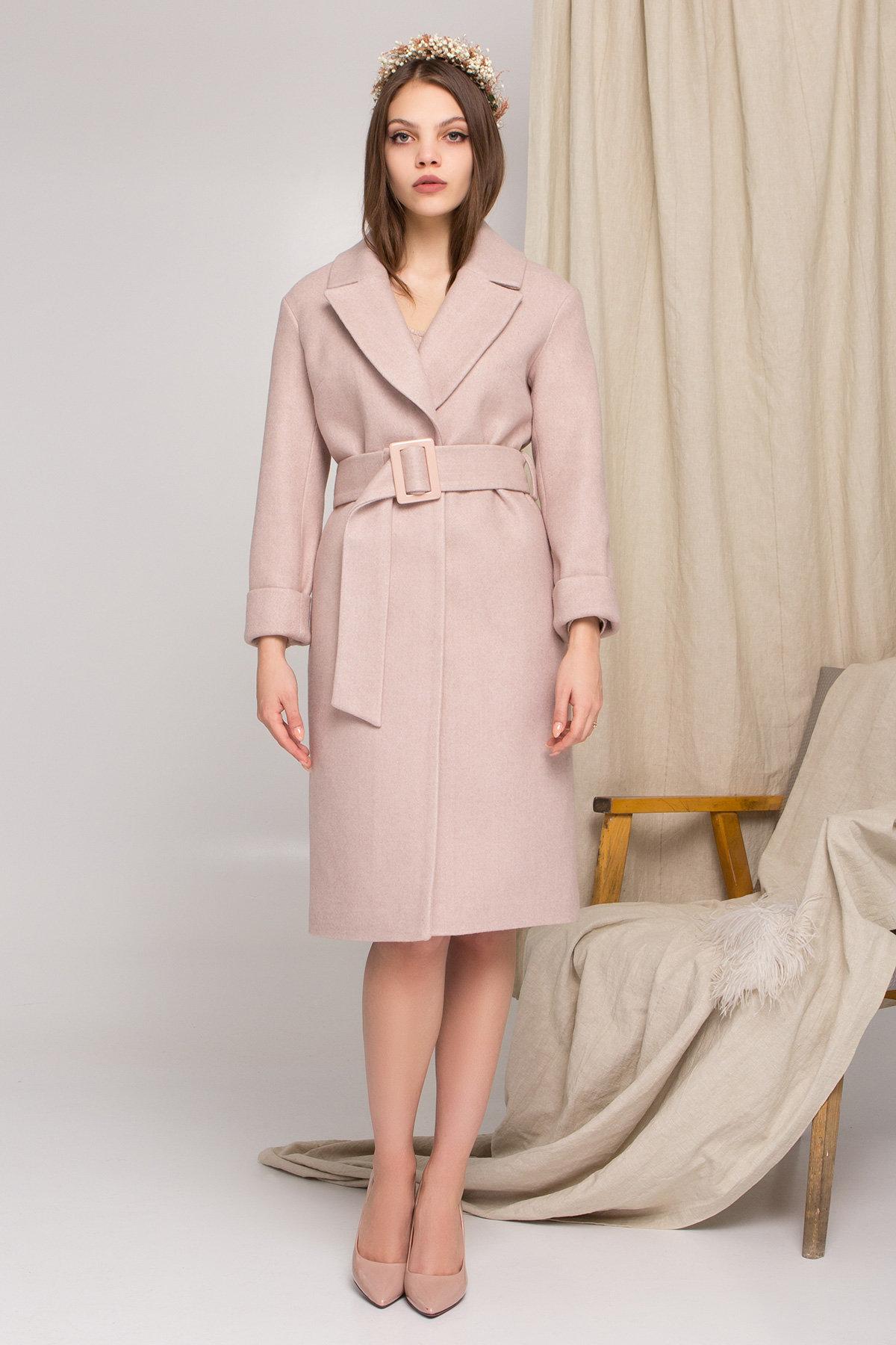 Пальто женское демисезонное купить в интернете Стильное бежевое пальто Севен 8755