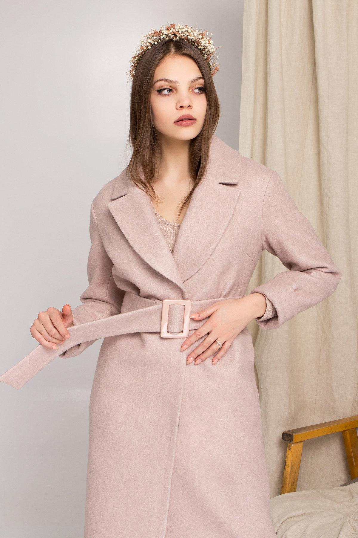 Стильное бежевое пальто Севен 8755 АРТ. 45112 Цвет: Бежевый меланж - фото 2, интернет магазин tm-modus.ru