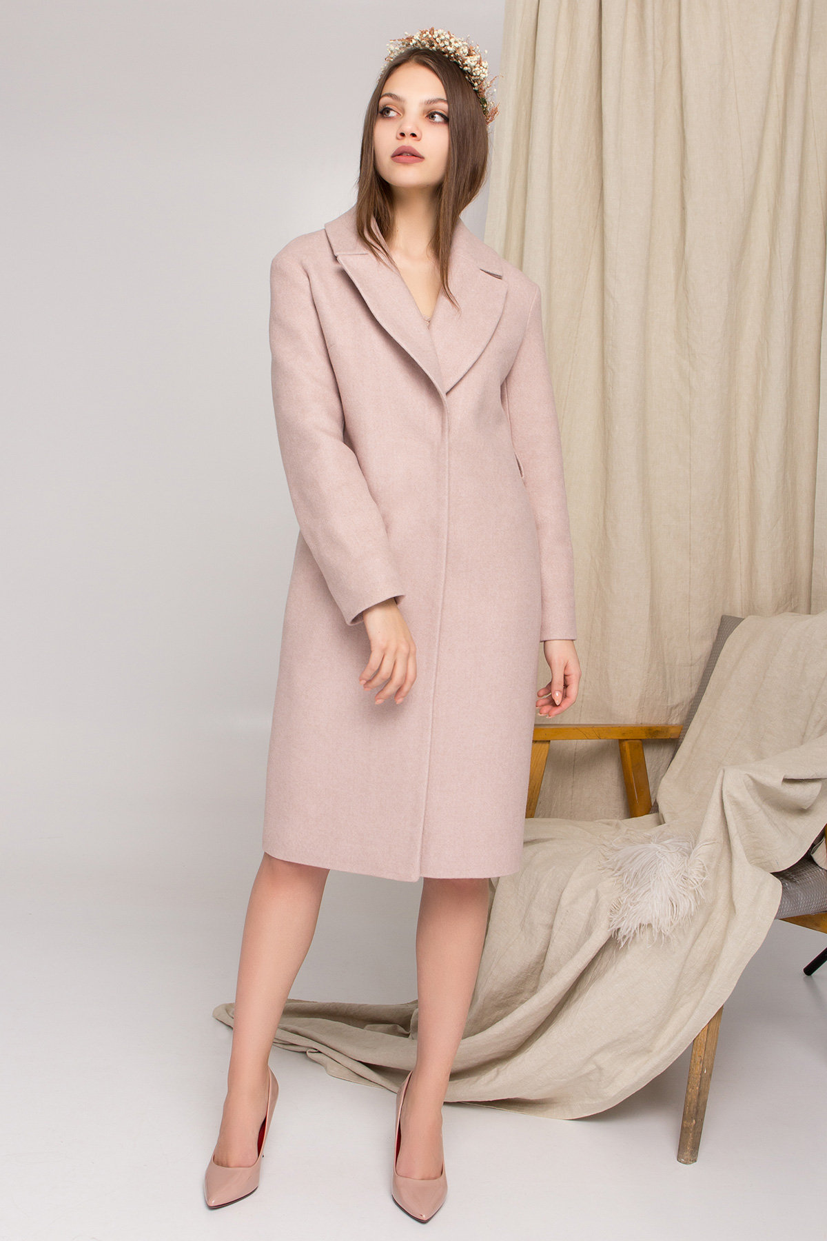 Стильное бежевое пальто Севен 8755 АРТ. 45112 Цвет: Бежевый меланж - фото 4, интернет магазин tm-modus.ru