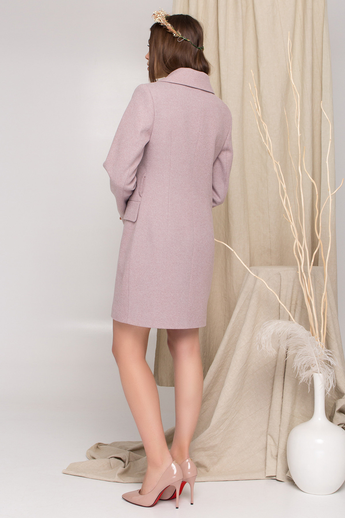 Пальто Корси 8943 АРТ. 45241 Цвет: Пудра 90 - фото 4, интернет магазин tm-modus.ru