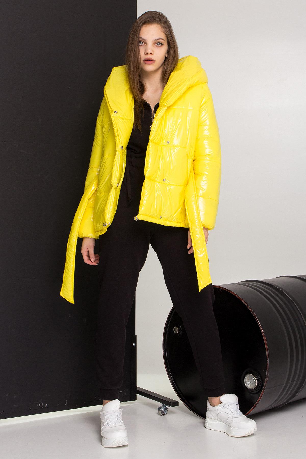 Лаковая куртка пуховик с поясом Бумер 8696 АРТ. 45243 Цвет: т.серый/желтый/черный - фото 1, интернет магазин tm-modus.ru