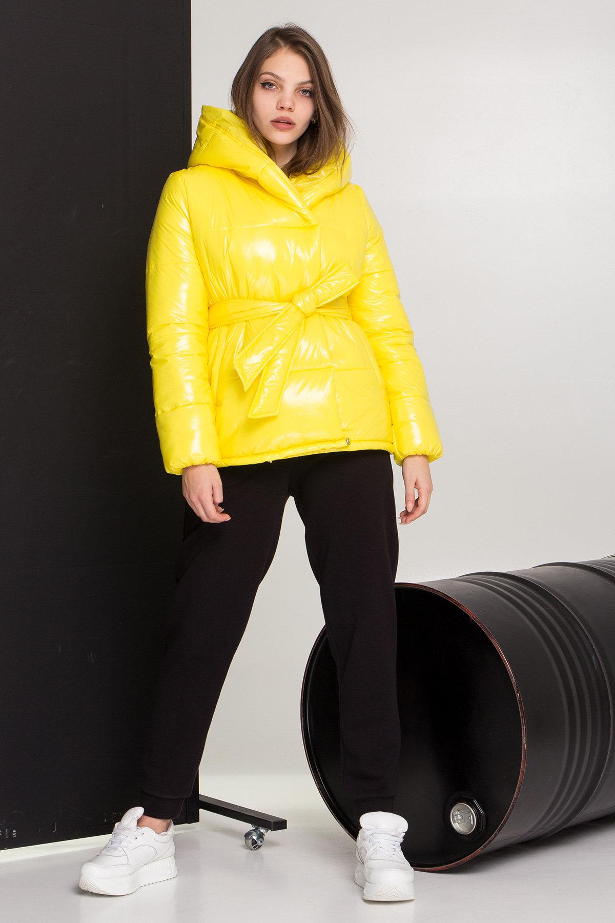 купить куртки женские Лаковая куртка пуховик с поясом Бумер 8696