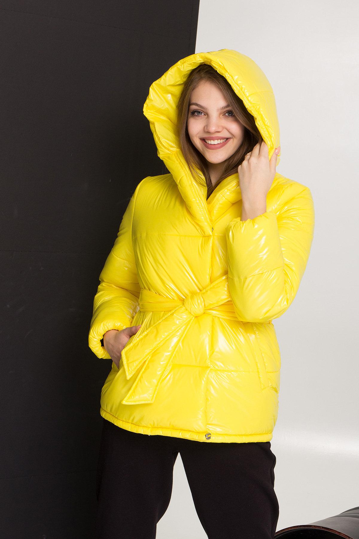 Лаковая куртка пуховик с поясом Бумер 8696 АРТ. 45243 Цвет: т.серый/желтый/черный - фото 5, интернет магазин tm-modus.ru