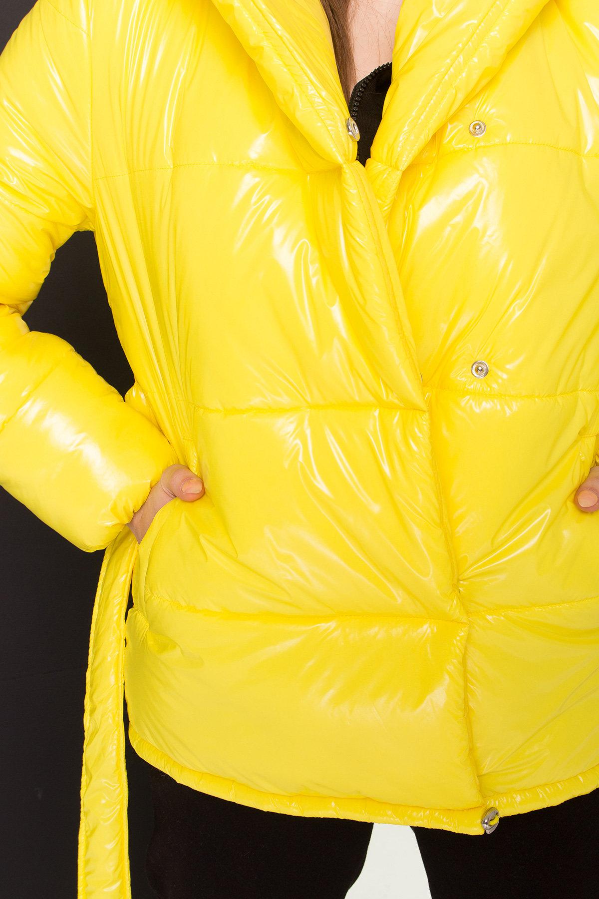 Лаковая куртка пуховик с поясом Бумер 8696 АРТ. 45243 Цвет: т.серый/желтый/черный - фото 8, интернет магазин tm-modus.ru