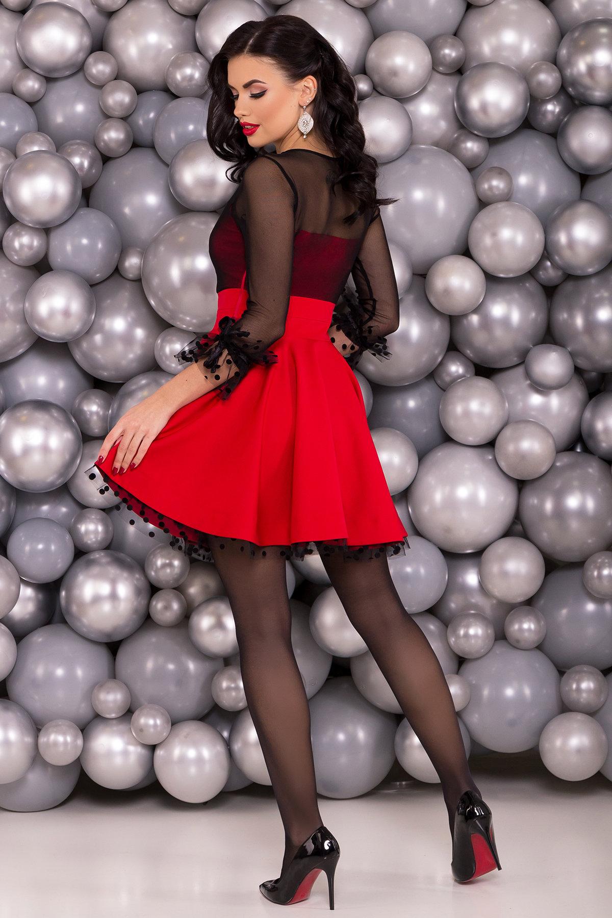 Нарядное платье Адриана 6022 АРТ. 45121 Цвет: Красный/черный - фото 2, интернет магазин tm-modus.ru