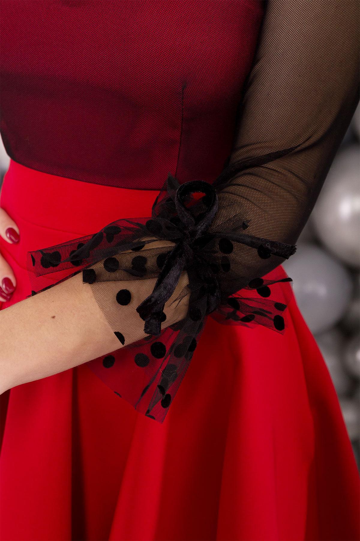 Нарядное платье Адриана 6022 АРТ. 45121 Цвет: Красный/черный - фото 3, интернет магазин tm-modus.ru