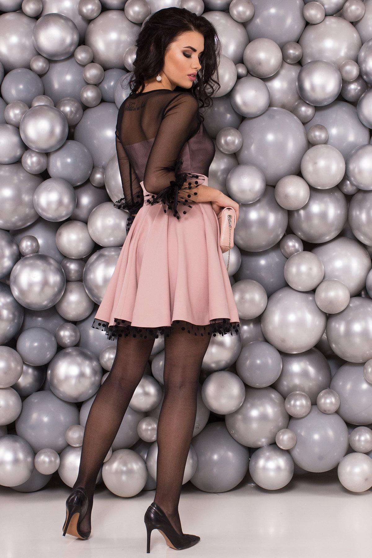 Нарядное платье Адриана 6022 АРТ. 45120 Цвет: Пудра/Черный - фото 2, интернет магазин tm-modus.ru