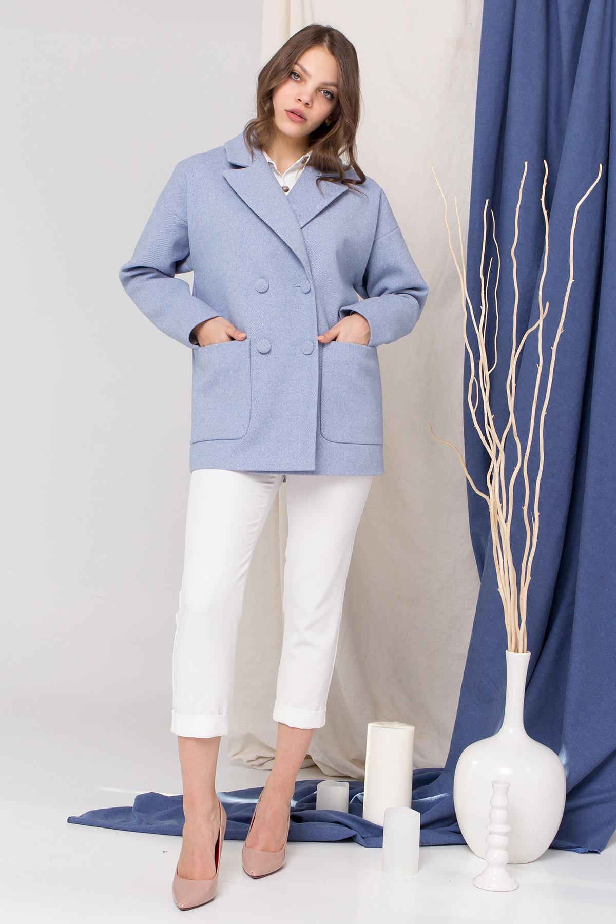 Пальто Мансера 8987 АРТ. 45304 Цвет: Голубой - фото 1, интернет магазин tm-modus.ru
