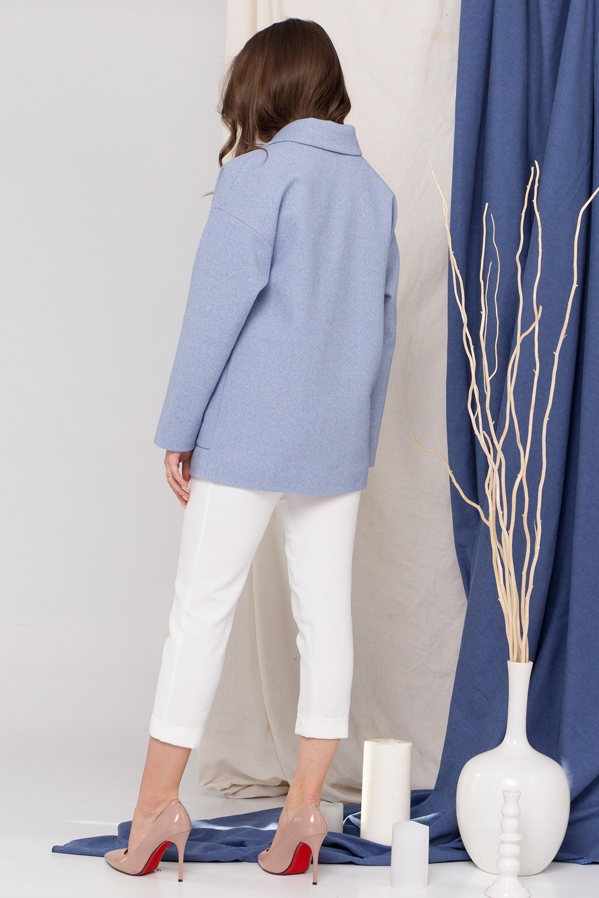 Пальто Мансера 8987 АРТ. 45304 Цвет: Голубой - фото 4, интернет магазин tm-modus.ru