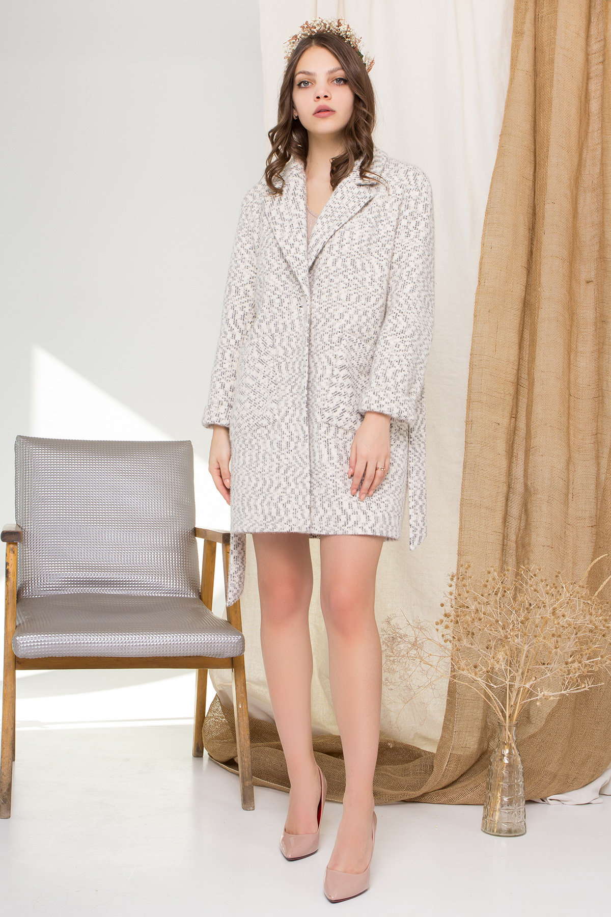 Пальто Живанши 9000 АРТ. 45308 Цвет: Рябь Беж/молоко/серый - фото 1, интернет магазин tm-modus.ru