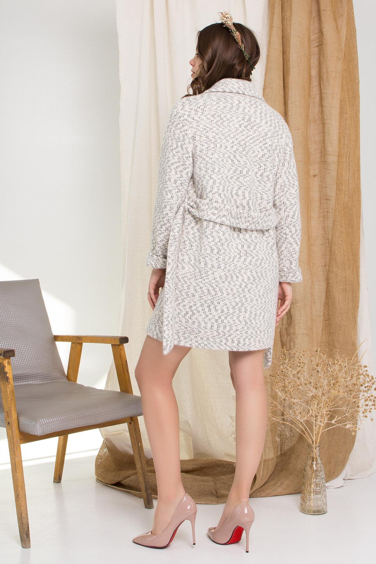 Пальто Живанши 9000 АРТ. 45308 Цвет: Рябь Беж/молоко/серый - фото 2, интернет магазин tm-modus.ru