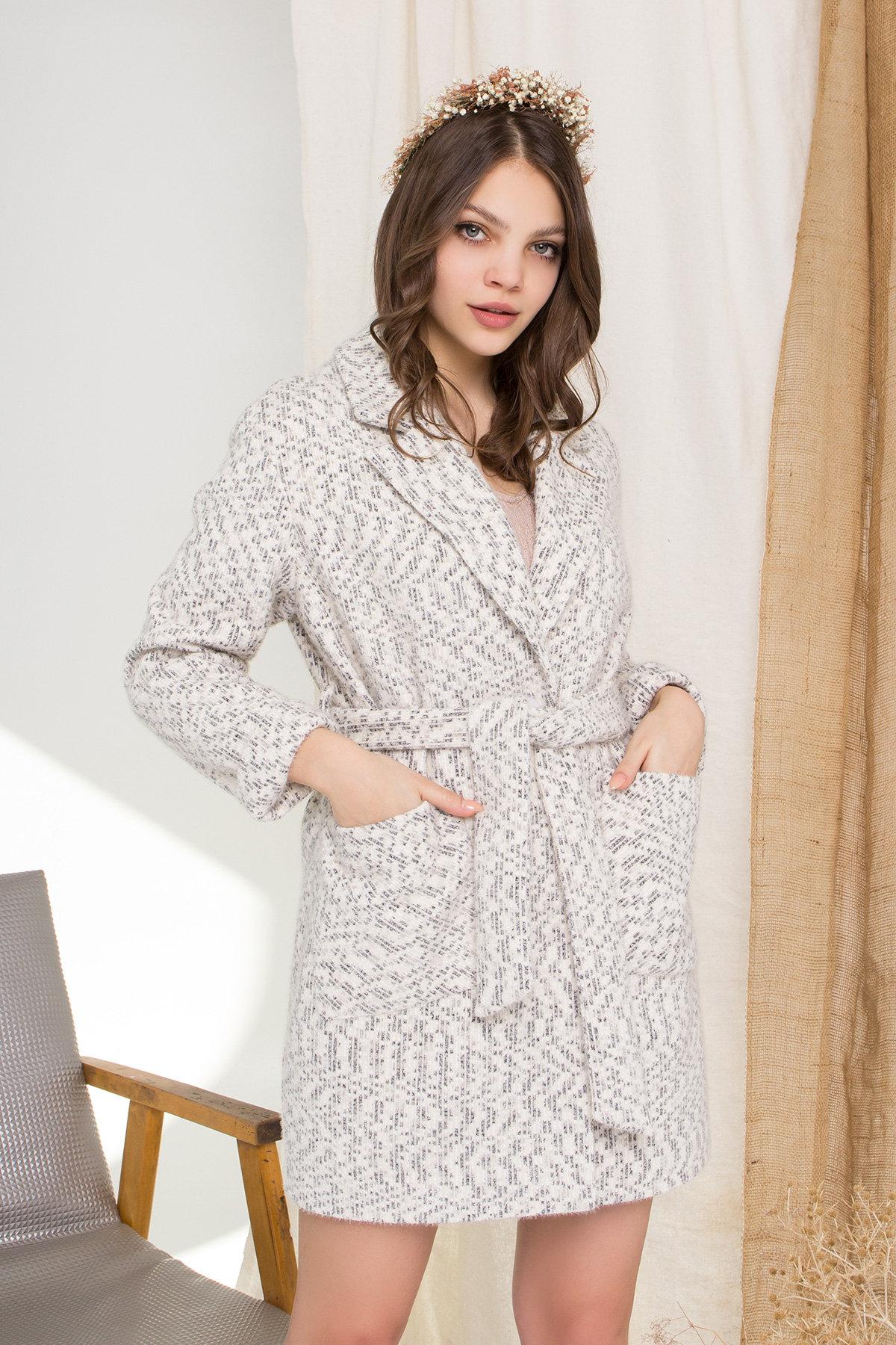 Пальто Живанши 9000 АРТ. 45308 Цвет: Рябь Беж/молоко/серый - фото 4, интернет магазин tm-modus.ru