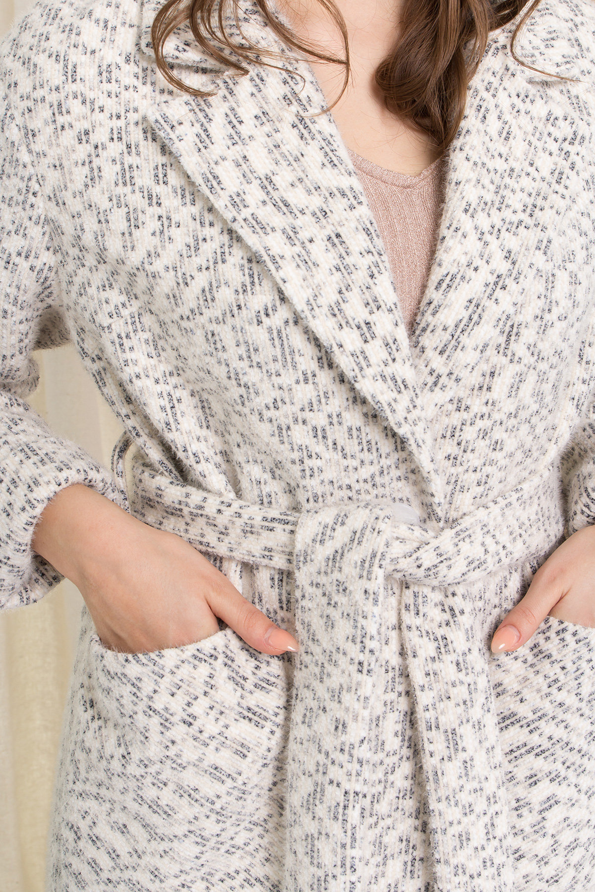 Пальто Живанши 9000 АРТ. 45308 Цвет: Рябь Беж/молоко/серый - фото 5, интернет магазин tm-modus.ru