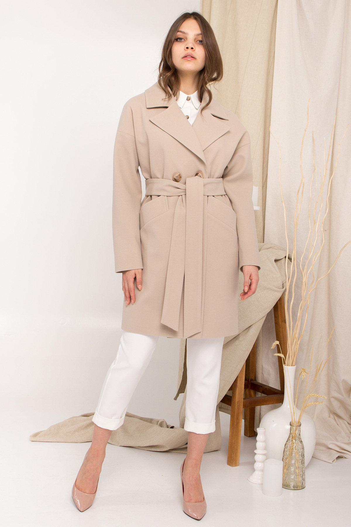 Пальто Сенсей 9006 АРТ. 45312 Цвет: Бежевый - фото 7, интернет магазин tm-modus.ru