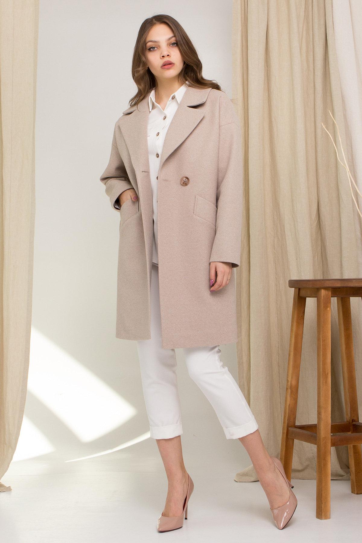 Пальто Сенсей 8907 АРТ. 45368 Цвет: Бежевый - фото 1, интернет магазин tm-modus.ru