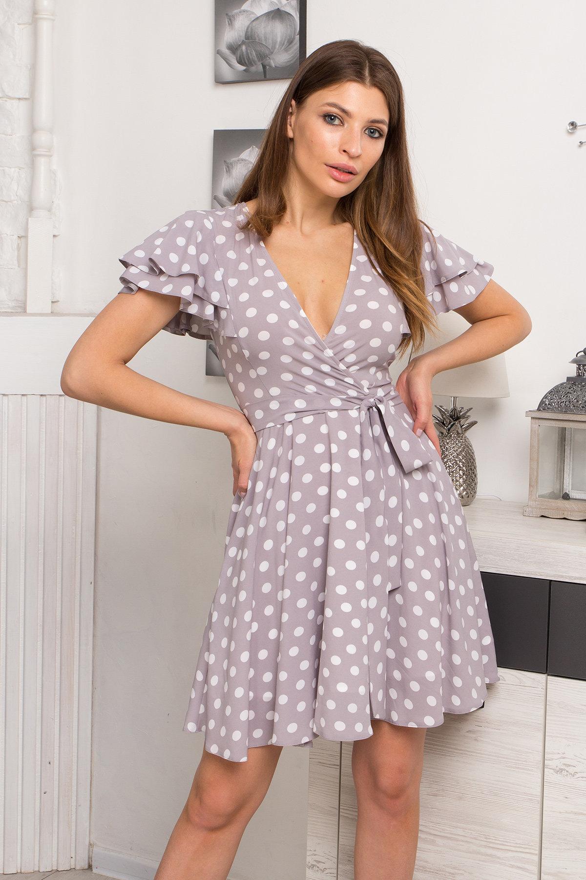 Платье Милея 9072 АРТ. 45397 Цвет: Серый/молоко горох - фото 3, интернет магазин tm-modus.ru