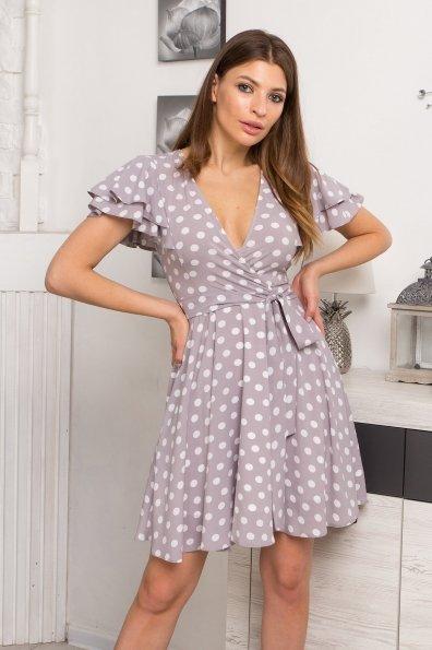 Платье Милея 9072 Цвет: Серый/молоко горох