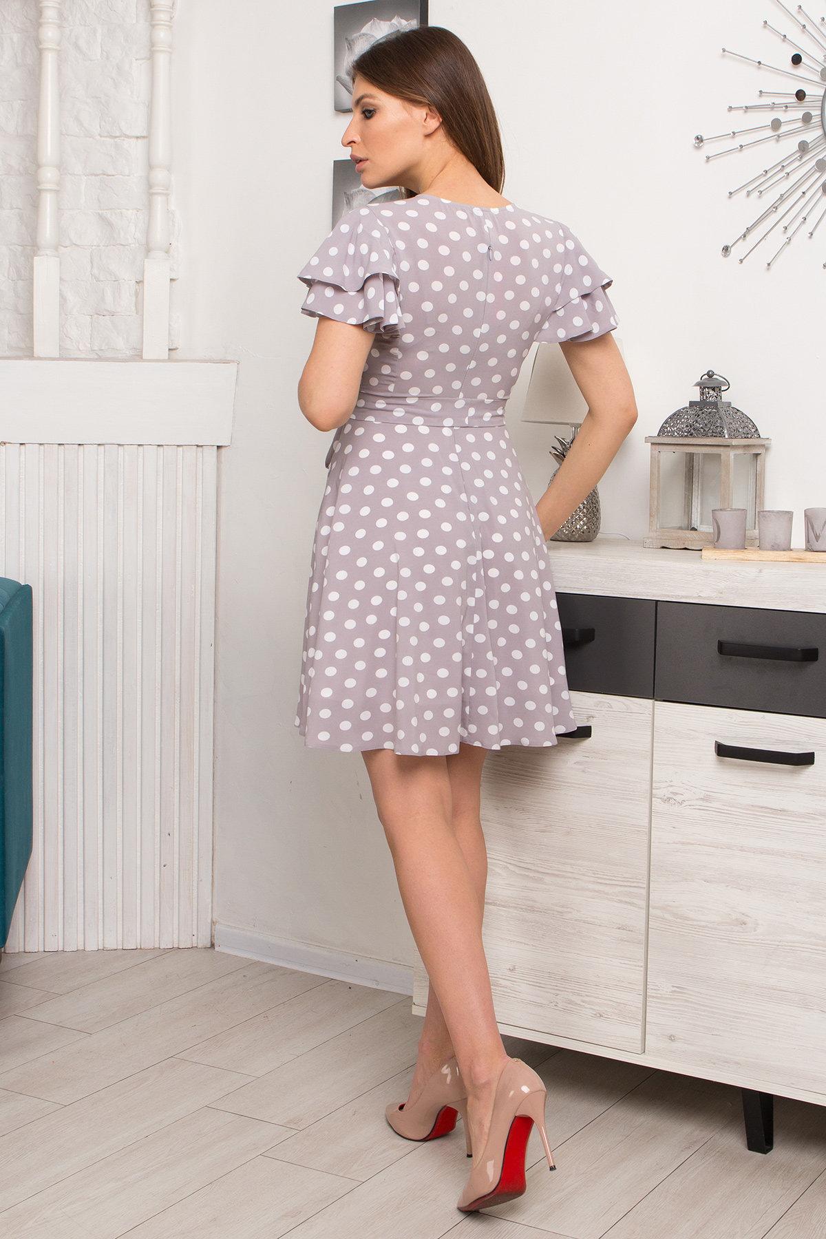 Платье Милея 9072 АРТ. 45397 Цвет: Серый/молоко горох - фото 4, интернет магазин tm-modus.ru